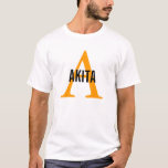Akita Breed Monogram Design T-Shirt