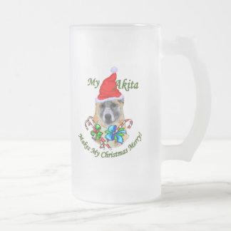 Akita Christmas Gifts Frosted Glass Beer Mug