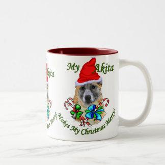 Akita Christmas Gifts Two-Tone Coffee Mug