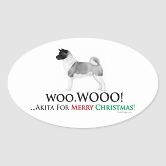 Akita Christmas Oval Sticker