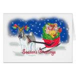 AKITA_Christmas_Sleigh Greeting Cards