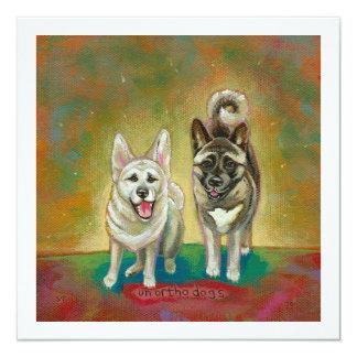Akita dog art happy dogs fun painting Unorthodogs 5.25x5.25 Square Paper Invitation Card