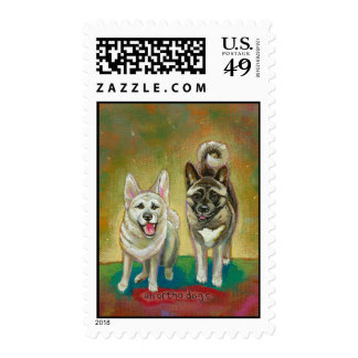 Akita dog art happy dogs fun painting Unorthodogs Postage Stamps