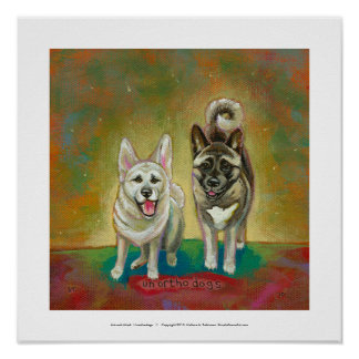 Akita dog art happy dogs fun painting Unorthodogs Poster