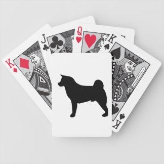 Akita dog beautiful black silhouette bicycle playing cards