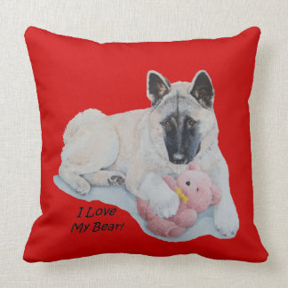 Akita dog cuddling pink teddy bear pet portrait throw pillow