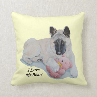 Akita dog cuddling pink teddy bear throw pillow