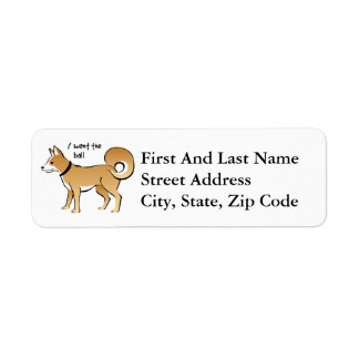 Akita Dog Illustration Fetch Pet Label