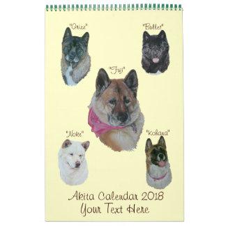 Akita dog portraits original realist art 2018 calendar