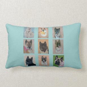 akita dog portraits original realist art paintings lumbar pillow