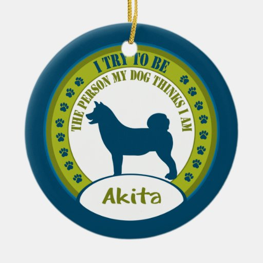 Akita Double-Sided Ceramic Round Christmas Ornament