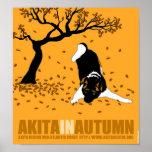 """Akita en el otoño (12"""" x 13"""") póster"""