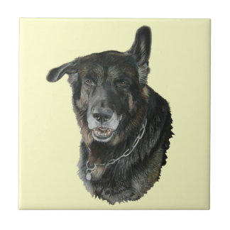 akita German shepherd mixed breed dog art tile