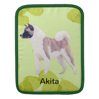Akita ~ Green Leaves Design Sleeve For iPads