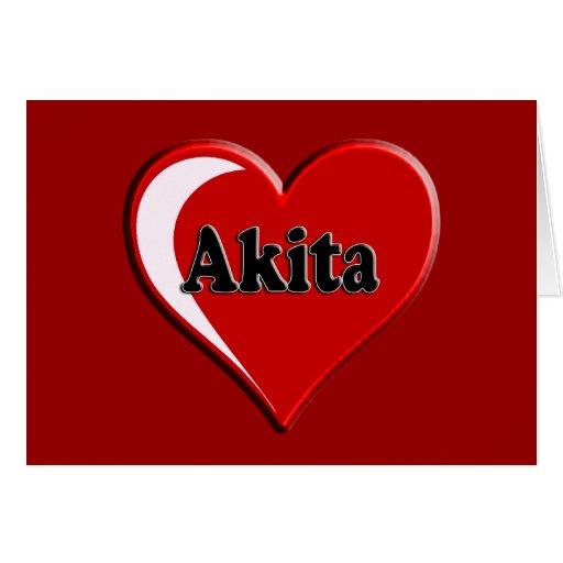 Akita Heart Dog Lover Gifts Greeting Cards