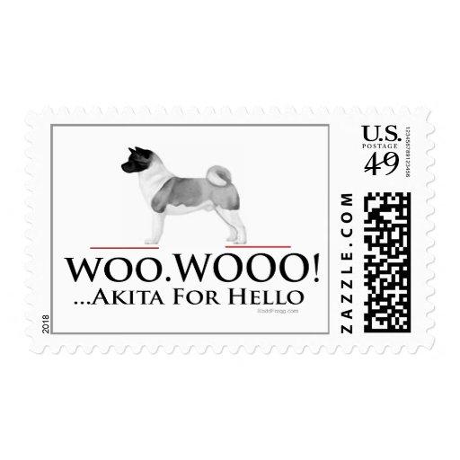 Akita Hello Postage Stamps