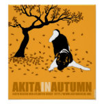 """Akita in Autumn (12"""" x 13"""") Poster"""