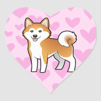Akita Inu/amor de Shiba Inu Pegatina En Forma De Corazón