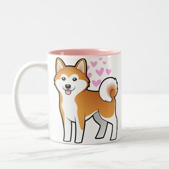 Akita Inu/amor de Shiba Inu Taza De Café De Dos Colores