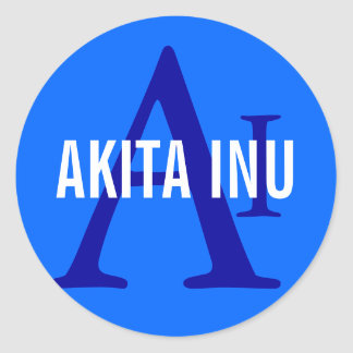 Akita Inu Breed Monogram Round Stickers