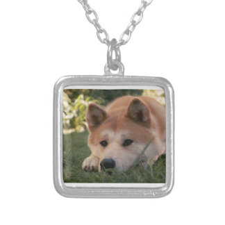 Akita Inu Dog Deep Thoughts Silver Plated Necklace