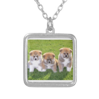Akita Inu Dog Puppies Silver Plated Necklace