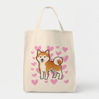Akita Inu / Shiba Inu Love Grocery Tote Bag