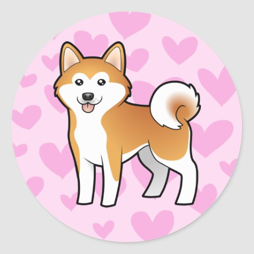 Akita Inu / Shiba Inu Love Classic Round Sticker