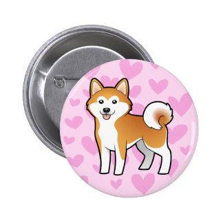 Akita Inu / Shiba Inu Love Pinback Button