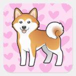 Akita Inu / Shiba Inu Love Square Sticker