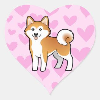 Akita Inu / Shiba Inu Love Heart Stickers