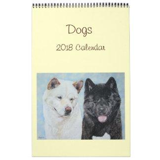 akita labrador collie dog portrait art 2018 calendar