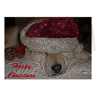 Akita lindo en el gorra de santa y el navidad tarjeta de felicitación
