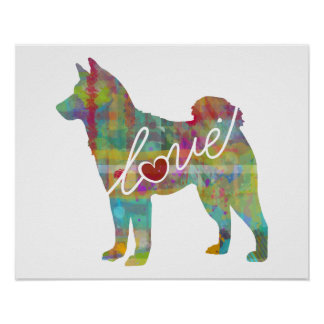 Akita Love - A Modern Watercolor Poster