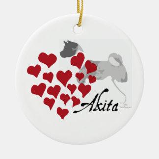 Akita Love Christmas Ornament