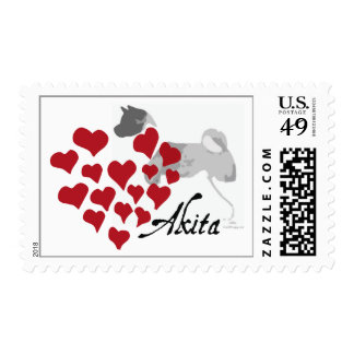 Akita Love Postage Stamps