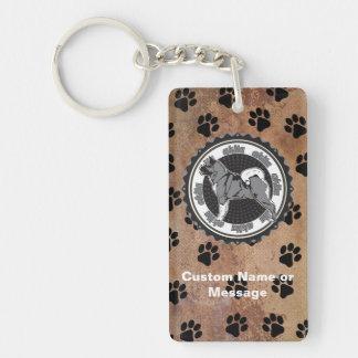 Akita Paws Dog Breed Lover Custom Name Keychain