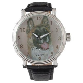 akita pinto brown and white dog portrait design wrist watch