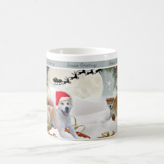 AKITA playing in snow mugs
