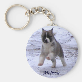 Akita Pup Basic Round Button Keychain