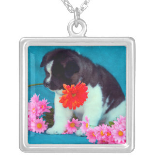 Akita puppy with flowers square pendant necklace