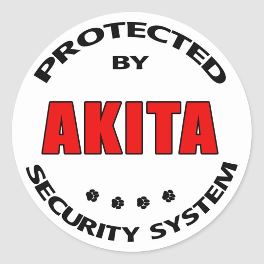 Akita Security System Classic Round Sticker