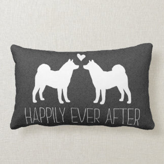 Akita Silhouettes with Heart and Text Pillow