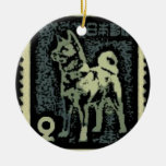 Akita Stamp Double-Sided Ceramic Round Christmas Ornament