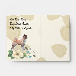 Akita ~ Tan Leaves Motiff Envelope