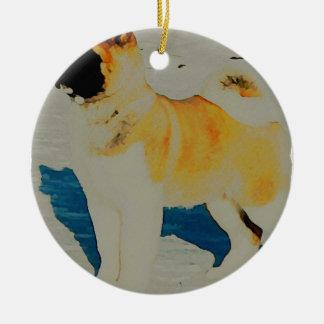 Akita Watercolor Ceramic Ornament