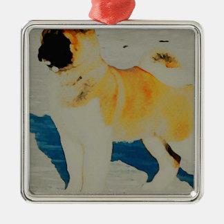 Akita Watercolor Metal Ornament