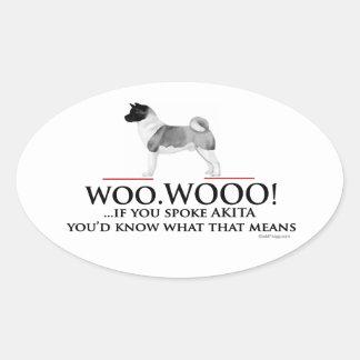 Akita Woo Woo Oval Sticker