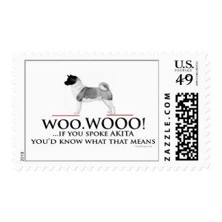 Akita Woo Woo Postage Stamps
