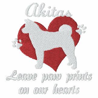 Akitas Leave Paw Prints Embroidered Shirt (LS)